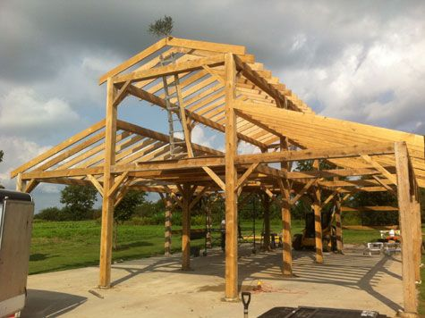 Timber frame kit prices timber frame barns pole barns for Log pole barn