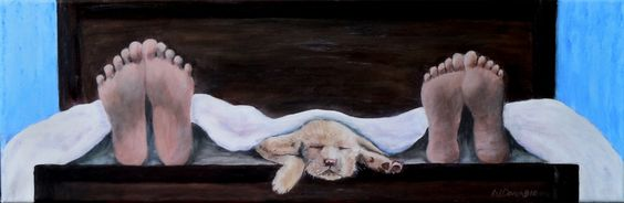 2015-1  Puppy Love - The Only Love That Comes Between Us, 8 x 24 Inches,  $350 Framed  Acrylic on Canvas  -Inspired by the theme, Betwixt and Between, for a Muskoka Arts and Crafts Member Show. The   idea of a two pair of human feet with a snuggllng bundle of puppy fur between them just tickled my funny bone....Enjoy!