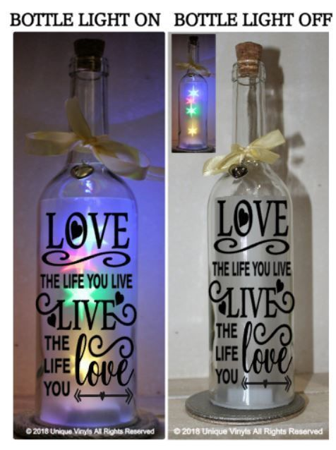Wine Bottle Vinyl Decal Sticker Fall In Love Quote Light Gift Home Valentines