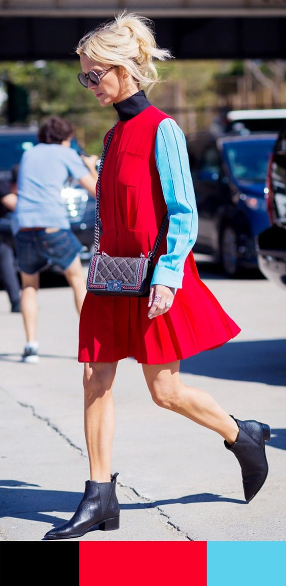 7 Summer Color Combos You've Never Thought of Before via @WhoWhatWear: Black + Red + Bright Blue