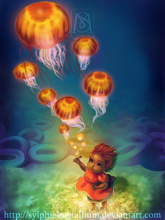 Jellyfish bubbles - Ponyo by *sylphielmetallium