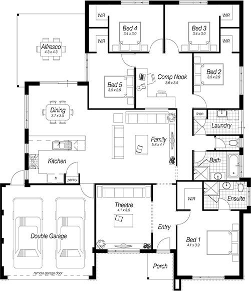 Pin By Ori Carter On House Ideas 5 Bedroom House Plans Home Design Floor Plans Dream House Plans