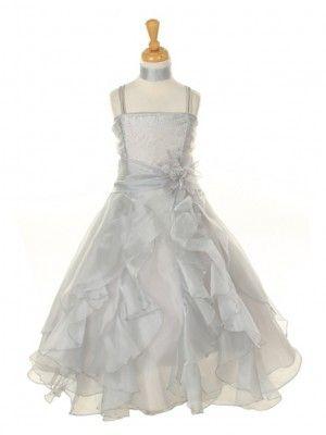 Silver Crystal Organza Cascading Ruffles Flower Girl Dress (Sizes 2-14) - Junior Bridesmaid Dresses - JUNIOR
