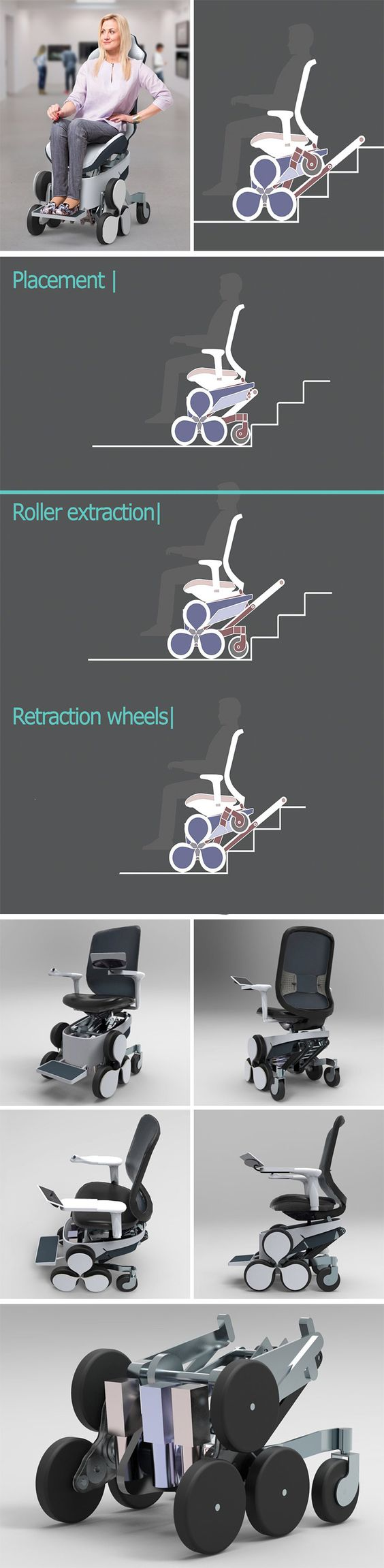 Wheelchair Q5 is a mobility solution the disabled community has been waiting for. When the wheelchair operator is faced with stairs, hills or other uneven surfaces, they only have to switch modes to tackles obstacles. By making more areas accessible, the design aims to increase the user's sense of independence and confidence.
