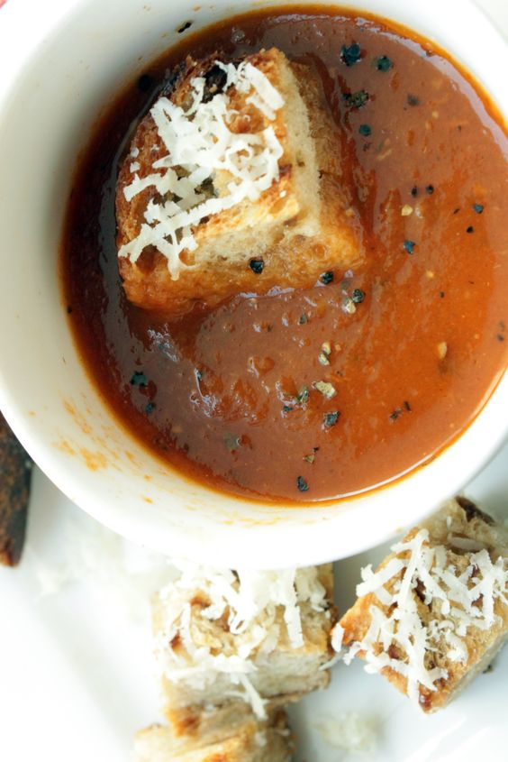 ... Parmesan Croutons | Roasted Tomato Soup, Roasted Tomatoes and Tomato