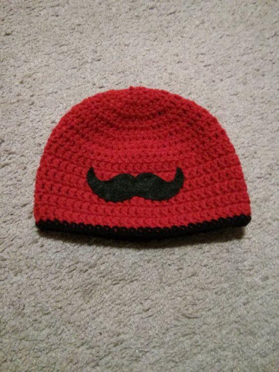 Crochet Pattern Mustache Hat : Mustache crochet hat USD12 Baby loves