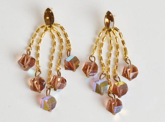 Vintage 60s 70s AB Crystal Rhinestone Dangle Earrings / 1960s 1970s
