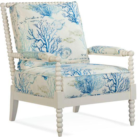 Coastal Upholstered Chairs In Beachy Nautical Fabrics