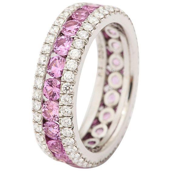 Lola's Pink Sapphire Diamond Platinum Eternity Band Ring