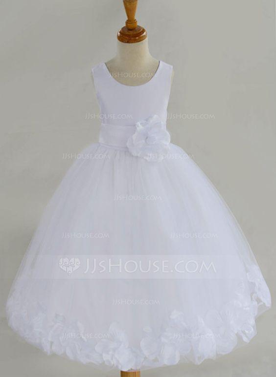 A-Line/Princess Knee-length Flower Girl Dress - Cotton Blends Sleeveless Scoop Neck With Flower(s)/Bow(s) (010087444)