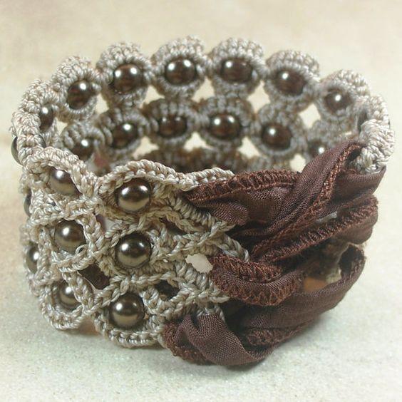 Crochet Jewelry Bohemian Bracelet or Cuff by GlowFlyJewelry, $30.00