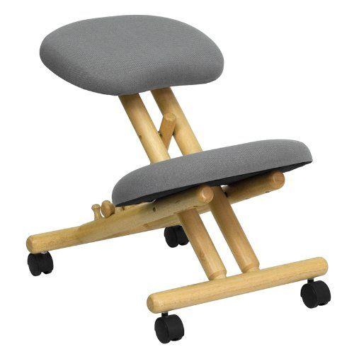 Flash Furniture Mobile Wooden Ergonomic Kneeling Chair in Gray Fabric