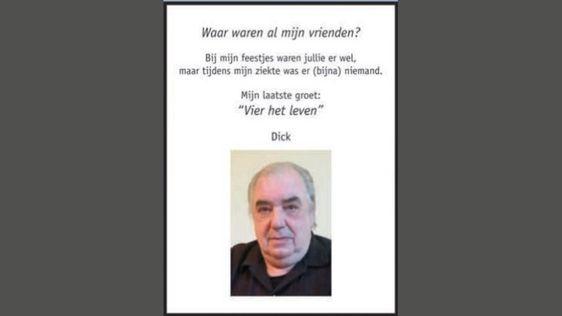 Dick na zijn dood in eigen rouwadvertentie: 'Waar waren al mijn vrienden?' | RTL Nieuws