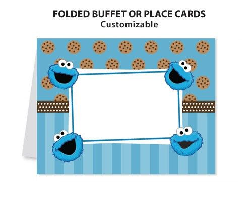Cookie Monster Sesame Street Printable Diy Custom Place Card Custom Birthday Invitations Custom Birthday Monster Cookies