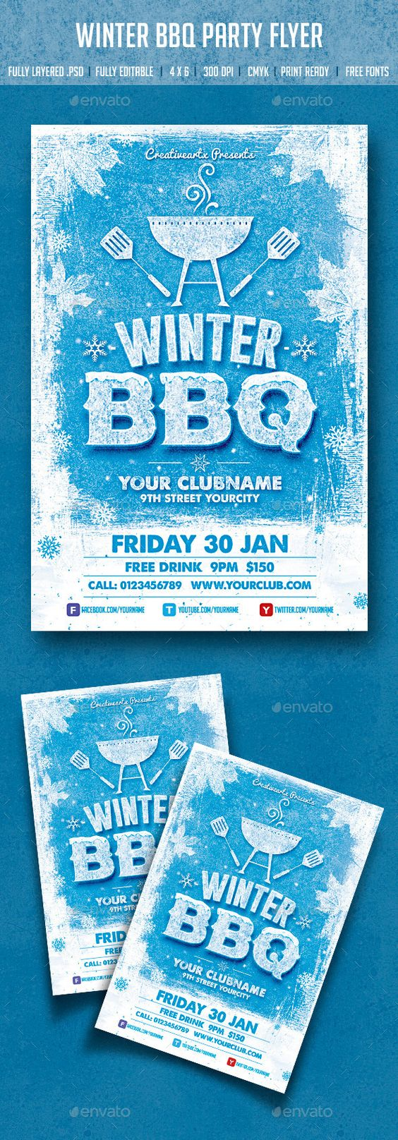 winter bbq party party events flyer template and bbq party winter bbq party flyer template psd design graphicriver