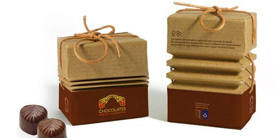 Chocolates EcoPack: diseño de packaging con material reciclado para bombones por Federico Beyer y por Marisol Escorza (Barcelona, España).