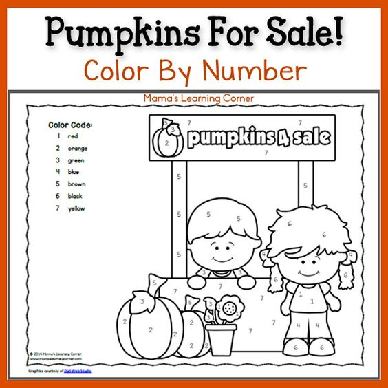color by number pumpkins colors color by numbers and fun. Black Bedroom Furniture Sets. Home Design Ideas