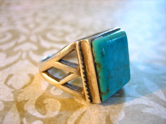 Vintage Sterling Silver and Turquoise by charmingellie on Etsy, $58.00