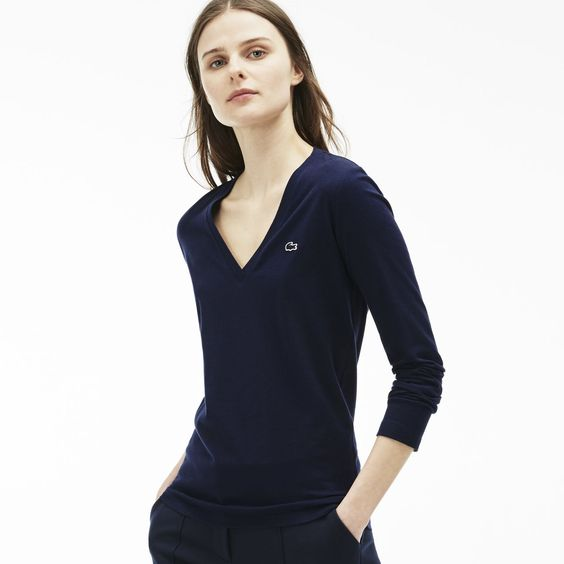 Damen-T-Shirt aus Baumwolljersey mit V-Ausschnitt | LACOSTE