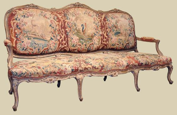 Elegant french louis xv sofa canape with aubusson for Canape louis 15
