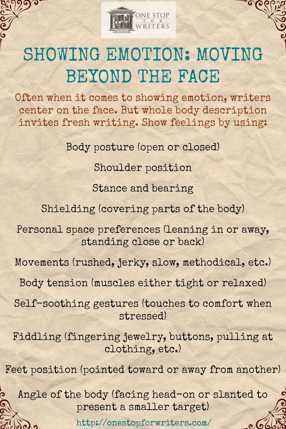Write FRESH: Use the whole body to describe emotion, not just the face. :)