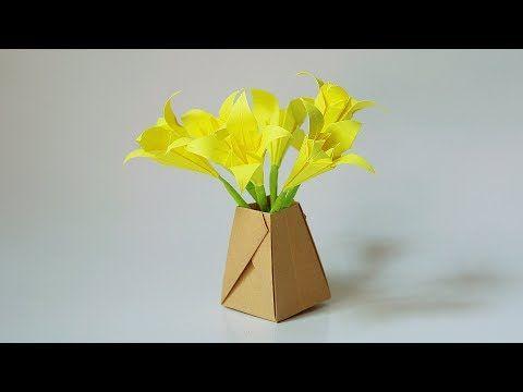 Origami - Vase (flower pot) - YouTube   360x480