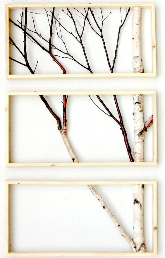 Birch branch triptych wall hanging triptych original art for Where to buy framed art
