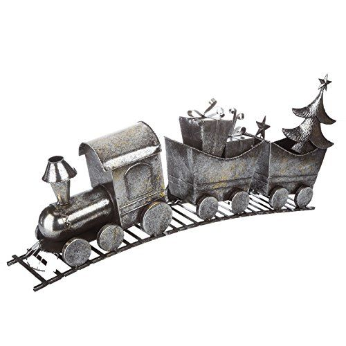 Christmas Holiday Distressed Silver Metal Train Decor 10 in Length