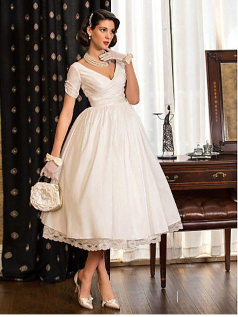 Lanting Bride A-line Princess Petite Plus Sizes Wedding Dress Tea length V-neck Taffeta