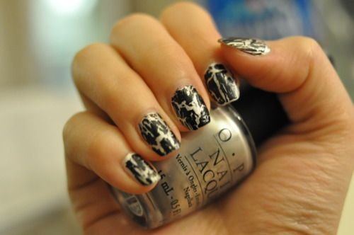"""Black Shatter"" by OPI in action."