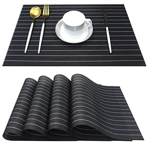 Bright Dream Placemats For Dining Table Plastic Washable Non Slip Dinner Table Mats 12x18 Inches Set Of 4 Black Brig In 2020 Table Mats Placemats Washable