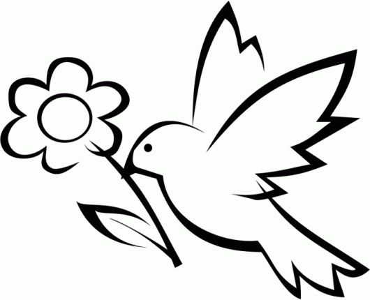 Simple Bird And Flower Coloring Page