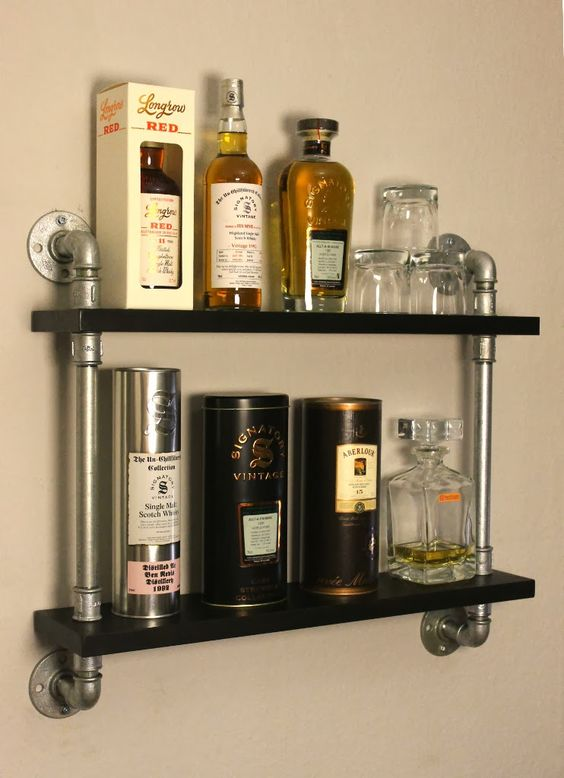 Freddykanova whisky display temperguss rohr regal for Regal industrial style