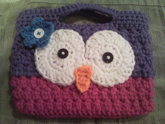 Super Cute Girls Crocheted Owl Purse with Flower. $8.00, via Etsy.