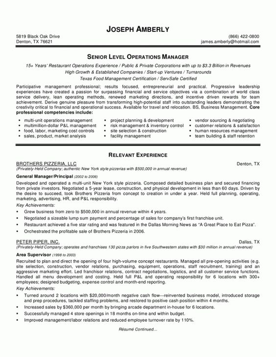Restaurant Manager Resume Template could b usefull Pinterest - bar resume examples