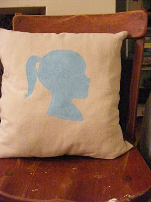 DIY silhouette pillow using a Contact paper stencil