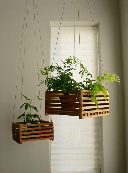 hanging crate planters: Hanging Plants, Hanging Crate, Hang Plant, Indoor Hanging Plant, Hanging Planters,  Flowerpot