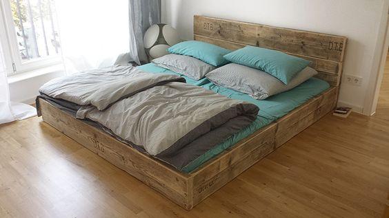 ... Bett aus Bauholz! Shabby Chic 140 x 200  Shabby, Schick und Shabby