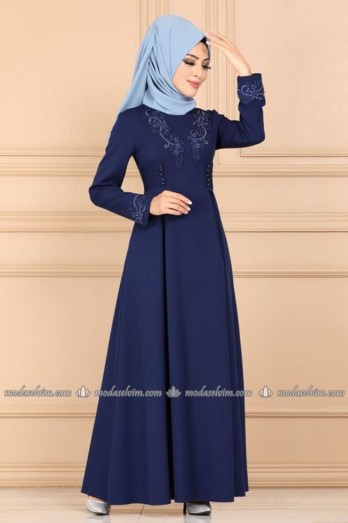 Modaselvim Elbise Gupuru Incili Elbise 9093w153 Indigo Muslim Fashion Hijabi Outfits Casual Evening Gown Dresses
