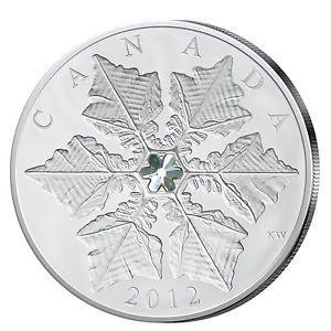 Schneeflocke auf Silbermünze aus Canada mit Svarovski-Element