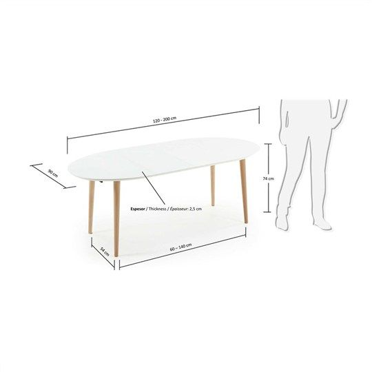 Oakland 120 200cm extendable oval dining table white for Table 120 extensible