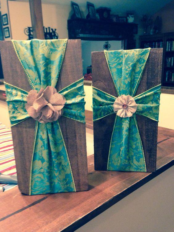 Fabric Ribbon Crosses On Wood For Sale Pinterest