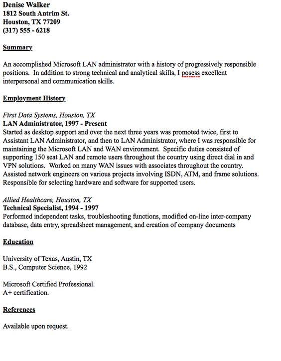 Example Of Lan Administrator Resume - http\/\/resumesdesign - plumber resume