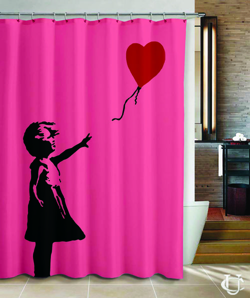 Banksy girl heart balloon Love Cover Shower Curtain | Shower ...