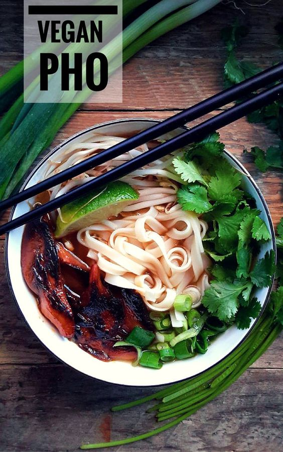 Craving a great plant-based pho? Here it is! Start with a killer vegetable broth, add in some fresh greens and marinate some mushrooms in a smoky, savory sauce. Refreshing and warming at the same time!