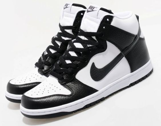 nike high tops black and white