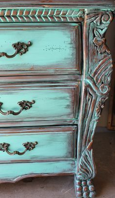 Aqua Turquoise Distressed French Armoire Dresser With Aged Copper/Ebony Patina