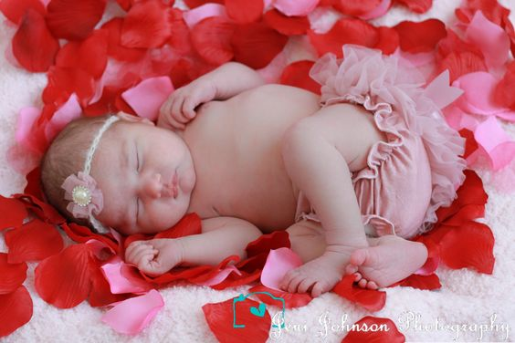 www.facebook.com/JeniJPhotography newborn, valentines day, ruffle butt, rose petals, pretty baby