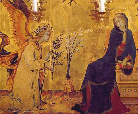 L'annunciazione, painted in 1333 by Simone Martini and Lippo Menni for the altar of Sant'Ansano in the Cathedral of Siena