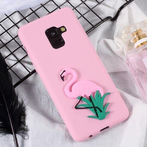 Coque Samsung Galaxy A8 2018 en silicone 3D - Flamant rose ...